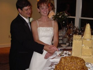Cake cutting at cape cod wedding